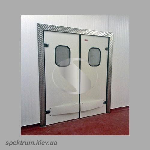 Маятниковые двери двустворчатые из нержавейки
